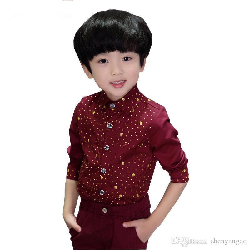 Yeni Erkek Polka Dot Bahar Gömlek Çocuklar Sonbahar Düğün Dış Giyim Gömlek Erkek Çocuklar için Moda Serin Gömlek