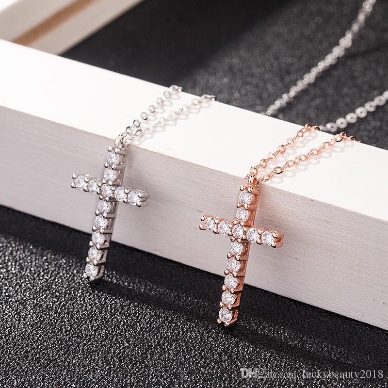 Kadınlar Hediye için lüks Kübik Zirkon Haç kolye kolye 925 Gümüş haç Christian İsa Takı