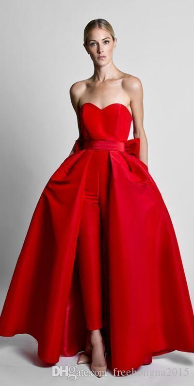 Красные Комбинезоны знаменитости Вечерние платья со съемными юбки без бретелек атласная гость платье выпускного вечера партии платья