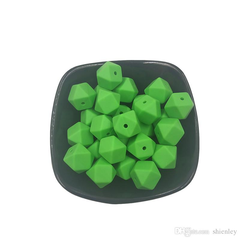 50pcs Silicone Beads BPA Free Hexagon Beads 14mm Polygonal Beads DIY Baby Chewing Jewelry Necklace/ Bracelet