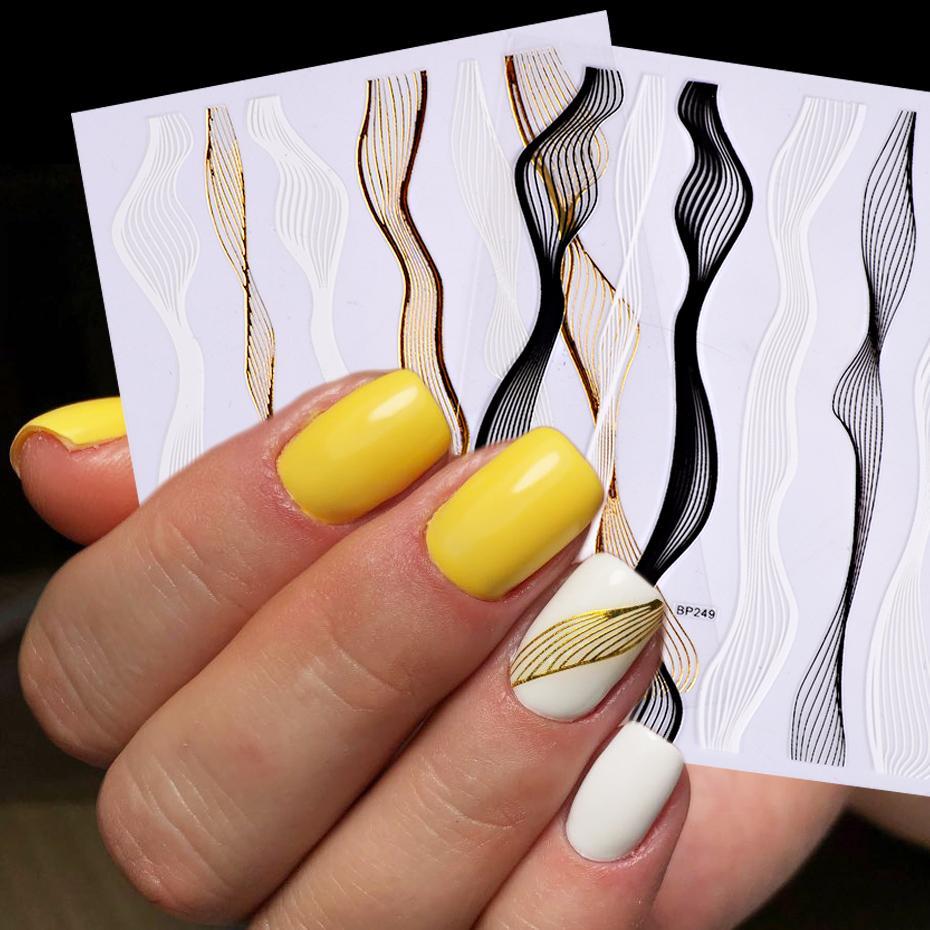 1pcs Nail Art Stickers 3D rayure ligne métal ruban or blanc adhésif bricolage transfert Foils Striping Ruban manucure Autocollants JIBP249-1