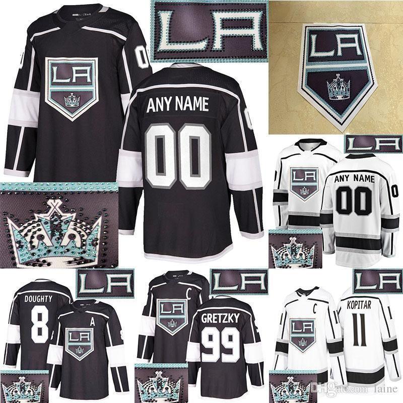 2019 Los Angeles Kings jersey versão Hot perfuração 11 Anze Kopitar 8 Drew Doughty 99 Gretzky Personalizar qualquer número qualquer jerseys nome de hóquei