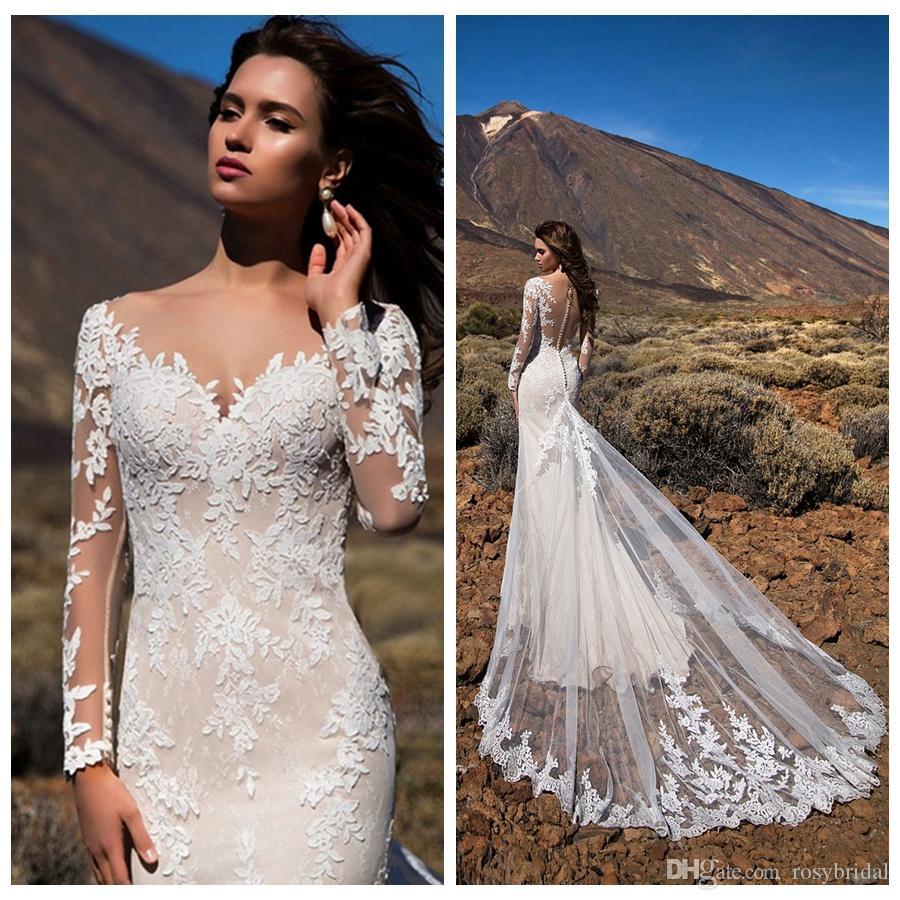 Сексуальные V-образные вырезывающие аппликации русалки свадебные платья видят через спину с длинным рукавом многоуровневые юбки Tulle Vestidos de Novia 2021 свадебные платья