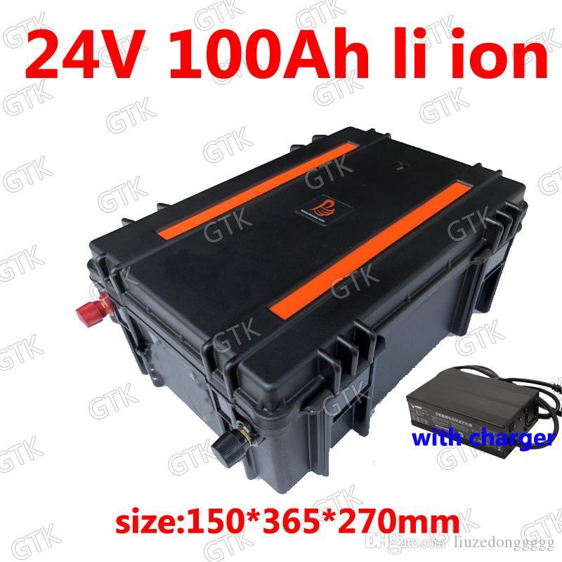 Wasserdichte 24V 100Ah-Lithium-Ionen-Batterie mit BMS für Solarenergieaufbewahrung Fahrrad Golfwagen Wechselrichter Gabelstapler Gabel + 10A Ladegerät