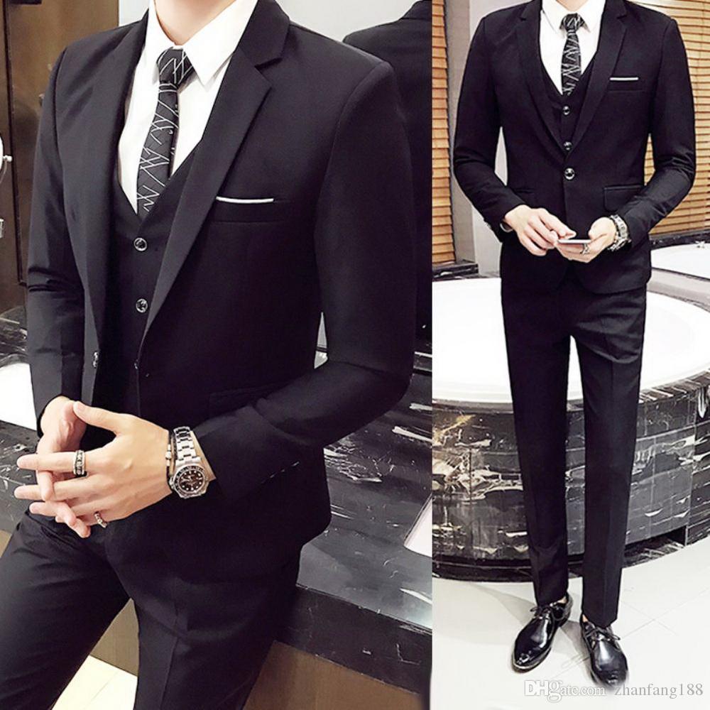 3pcs Set Luxo Plus Size Men Suit conjunto formal Blazer + colete + calça ternos Define do For Men Oversize Set Terno do casamento Escritório de Negócios