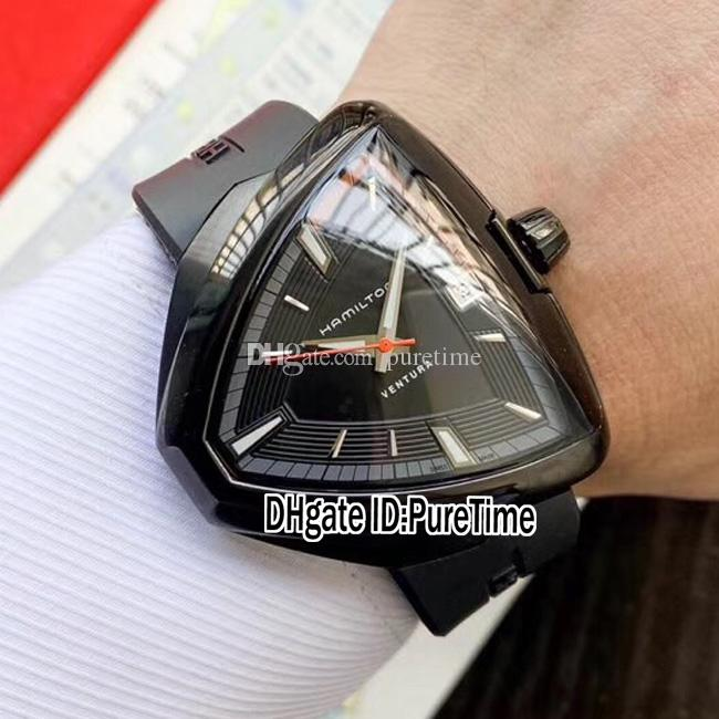 Yeni Ventura Elvis80 H24585331 A2824 Otomatik Erkek İzle PVD Çelik Siyah Arama Gri İç Siyah Kauçuk Saatler Best Edition Puretime F01A1