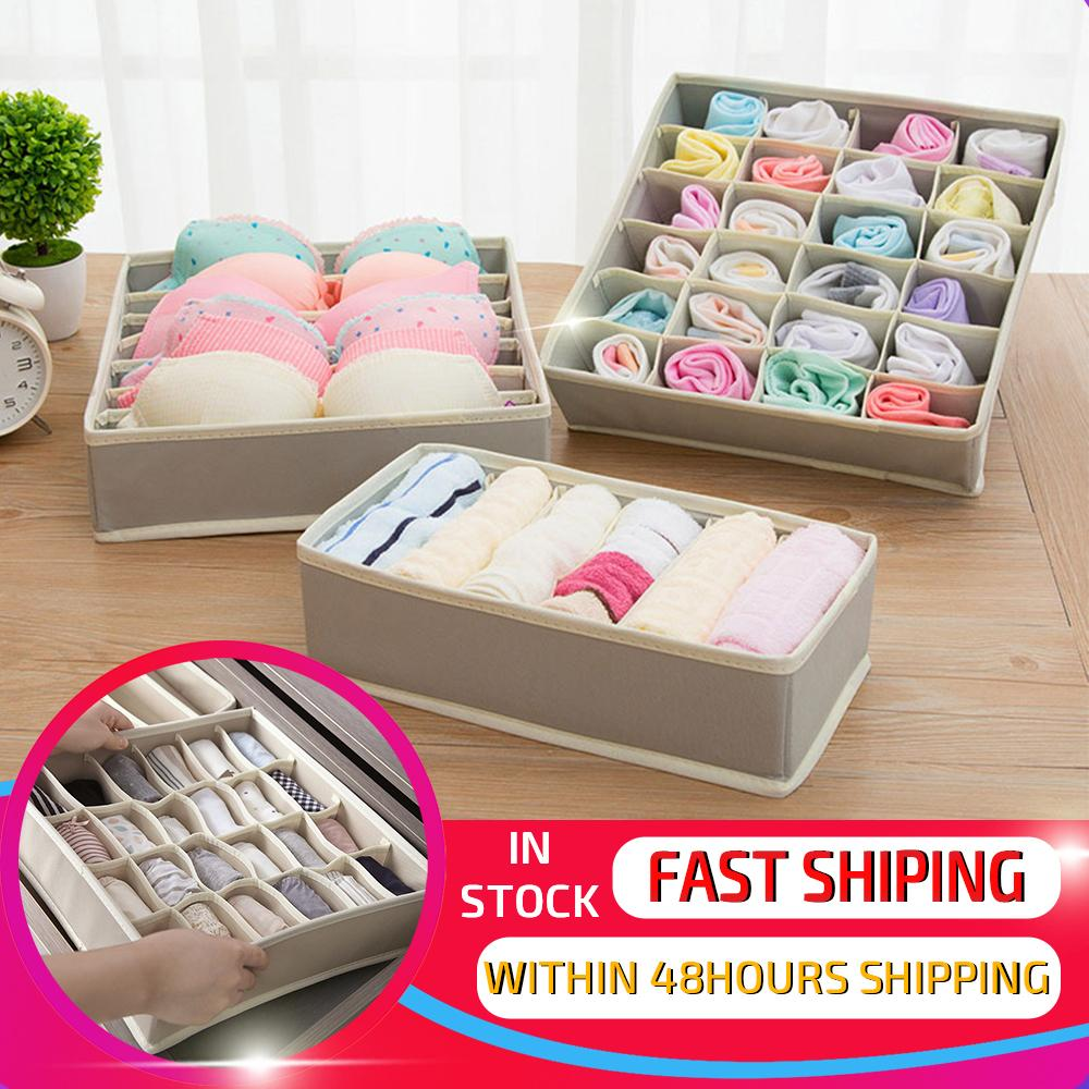 DINIWELL 1 Set New Non-Woven Collapsible Storage Boxes For Bra Underwear Folding Closet Organizer Drawer Divider Container Y200111
