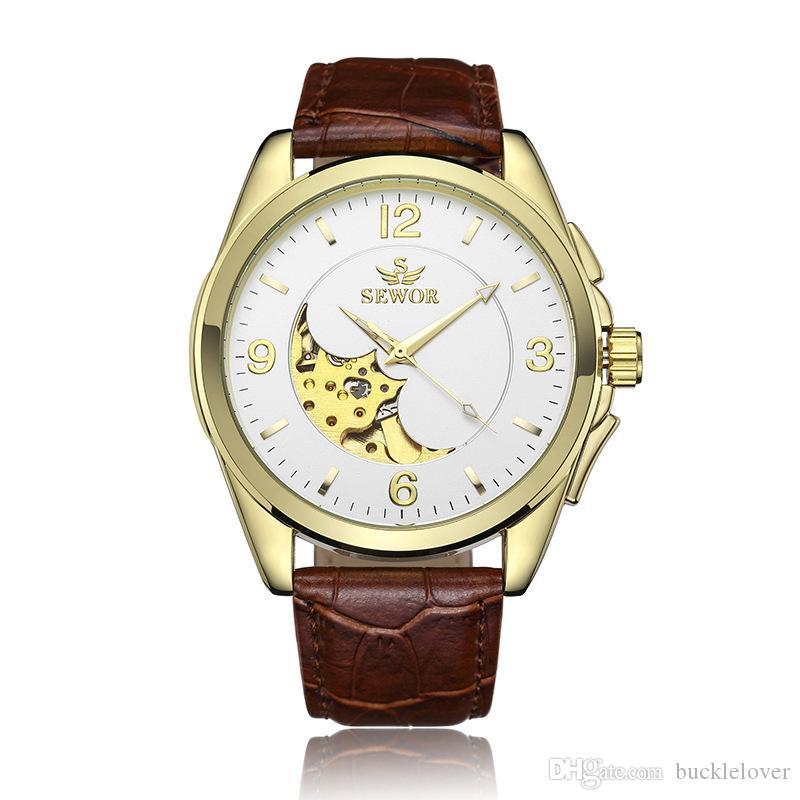 1 Unids Hueco Grabado Esqueleto Casual Diseñador Negro Caja de Oro Engranajes Bisel Relojes Relogio masculino Relojes Automáticos