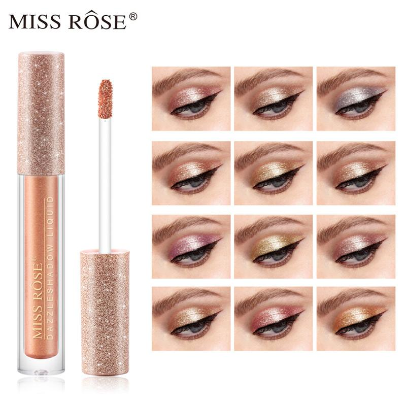 Miss Rose Lantejoula Sombra Glitter Líquido Maquiagem Sombra de Olho 12 Cores Único Pigmento Profissional Creme Olhos Cosméticos De Alta Cor Render