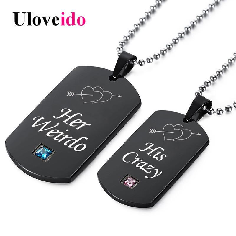 ewelry Aksesuarları Uloveido Siyah Kolyeler Her Weirdo ve O'nun Çılgın Çift Kolye kolye Paslanmaz Çelik Takı Medalli ...