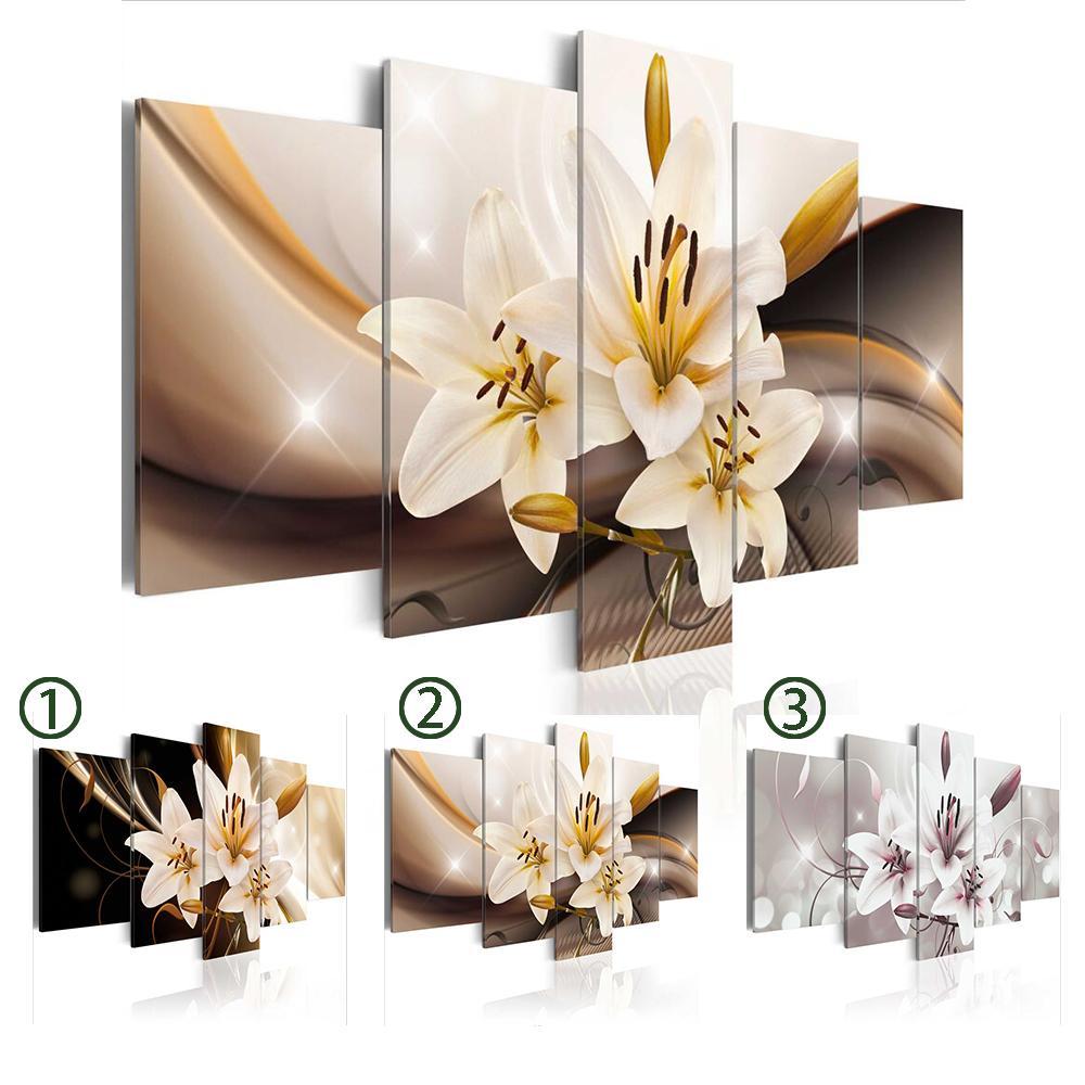 5PCS / 설정 오키드 플라워 아트 인쇄 캔버스 회화 벽 그림 홈 장식, 아니 프레임