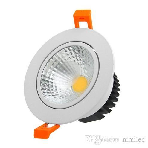 LED COB Даунлайты Dimmable 21W 18W 15W 12W 9W Светодиодное освещение AC 85-265V Матовое стекло Объектив Встроенный потолочный светильник Внутреннее освещение LLFA