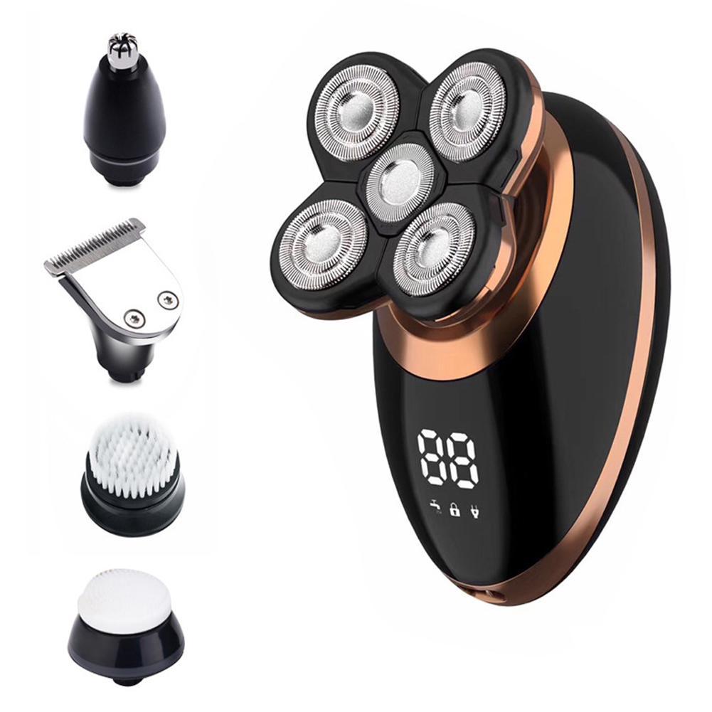 Nuevo 5 en 1 máquina de afeitar eléctrica seca mojada para el cabello los hombres barbero de afeitar eléctrica de la máquina de afeitar pantalla LCD calva recargable kit de aseo