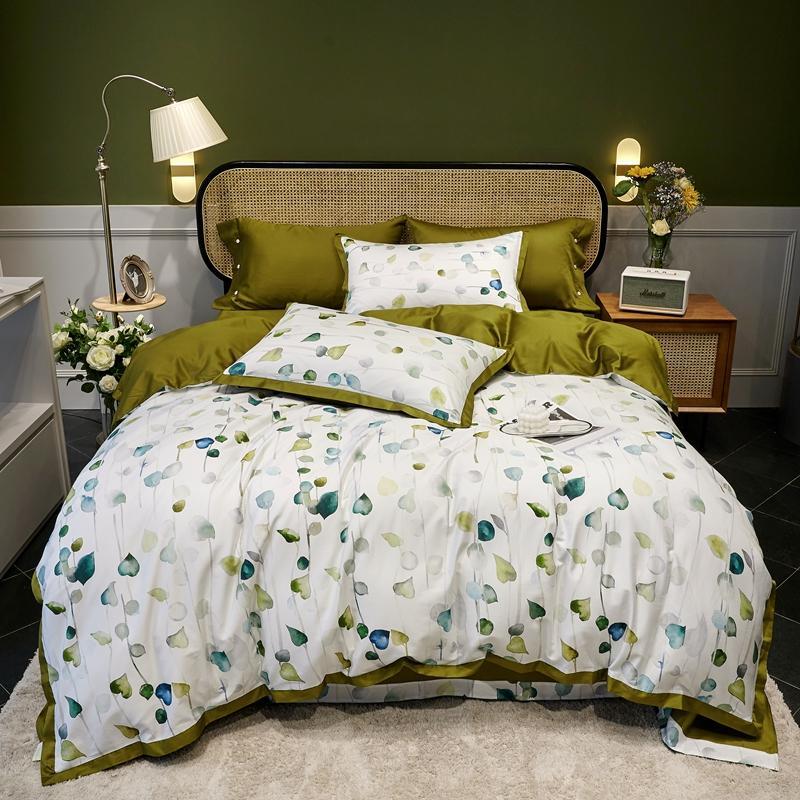 TUTUBIRD Egyptian cotton European bedclothes bed linen leaf print pastoral style satin duvet cover king queen bedspread