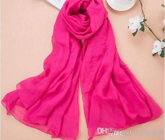 النسخة الكورية من جديد الموضة الشيفون الشاطئ منشفة، وشاح الحرير، لون نقي وشاح كبير واقية من الشمس شال 10PCS / الكثير L937