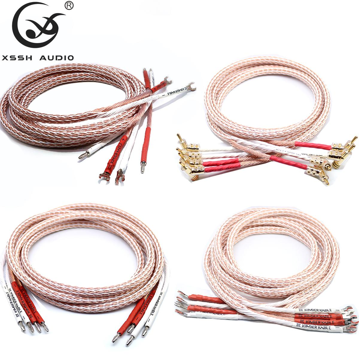 1 pair XSSH audio Hi-end DIY HIFI Gun-Type Gold Rhodium Plated Y shape spade to banana plug 12TC 24 core speaker cable Cord Wire T200608