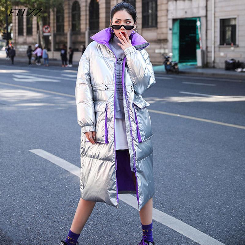 FTLZZ Nouveau Veste d'hiver Femmes blanc duvet de canard Parkas Femme Collier Thicken Manteau stand argent chaud Neige Noire vers le bas Outwear V191209