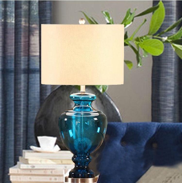 American blue glass table lamps Bedroom study bedside desk lamp hotel living room decorative table light LR008