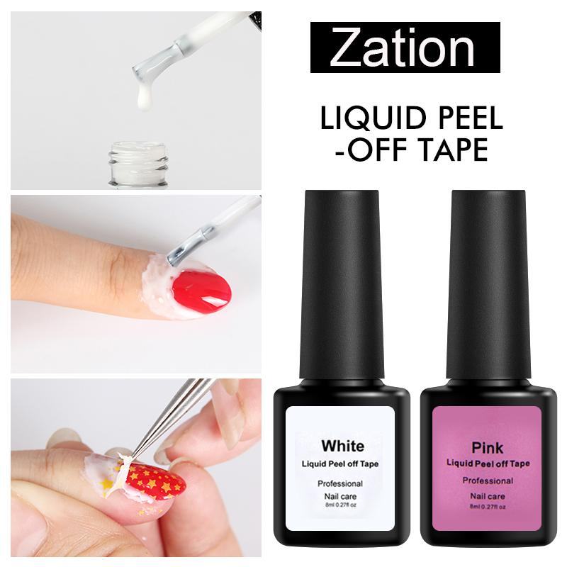 Zation Peel Off Liquid Latex Adhesive Varnishes for Nail Polish Protection Tape Pink Finger Skin Defender Nail Art