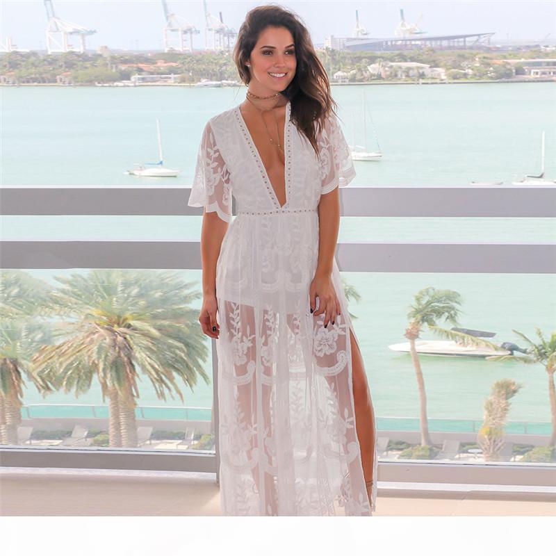 NoDelay 2018 funda V-Neck Bikini Cubra Lace Beachwear Pareo Sexy Cover-up Praia Wear Feminino tornozelo-comprimento vestido de praia Túnica