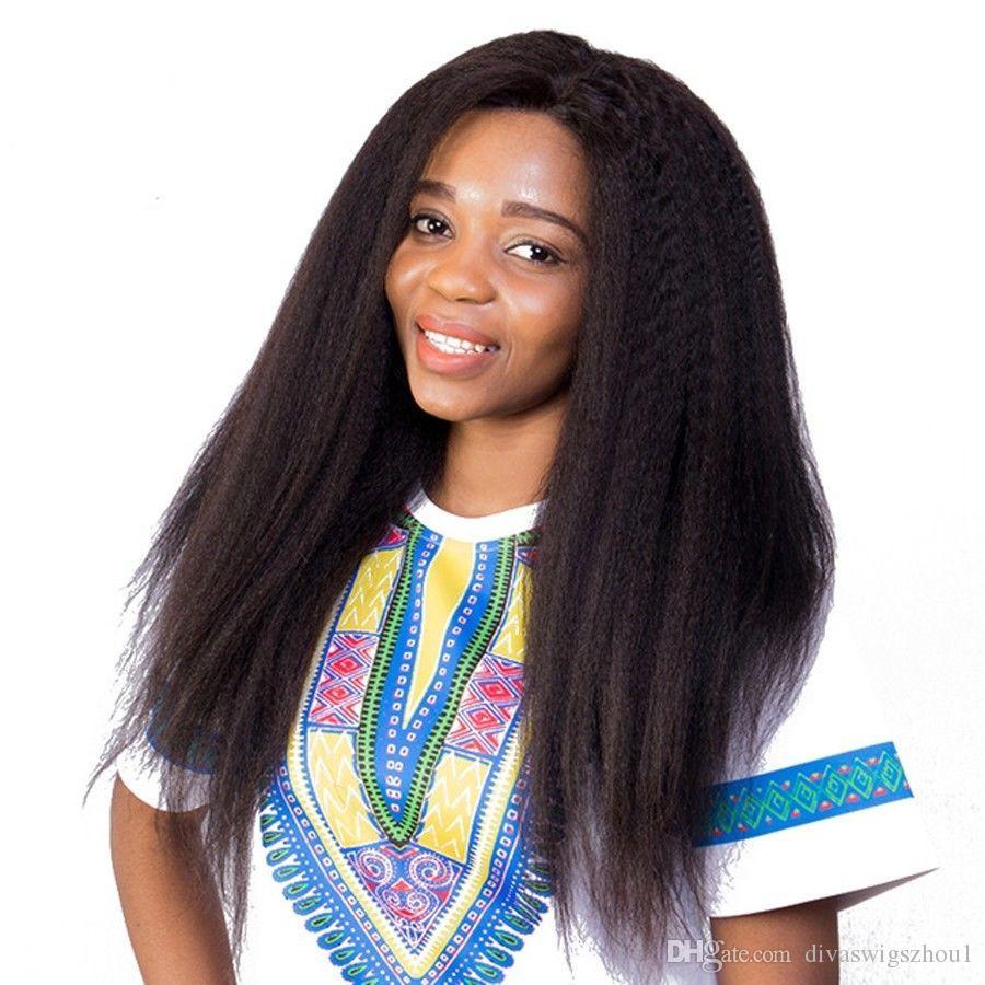 Yaki Düz 360 Dantel Frontal Peruk 180 Yoğunluk Kinky Düz Dantel Ön İnsan Saç Peruk İçin Siyah Kadınlar ile Bebek Saç Öncesi Koparmak