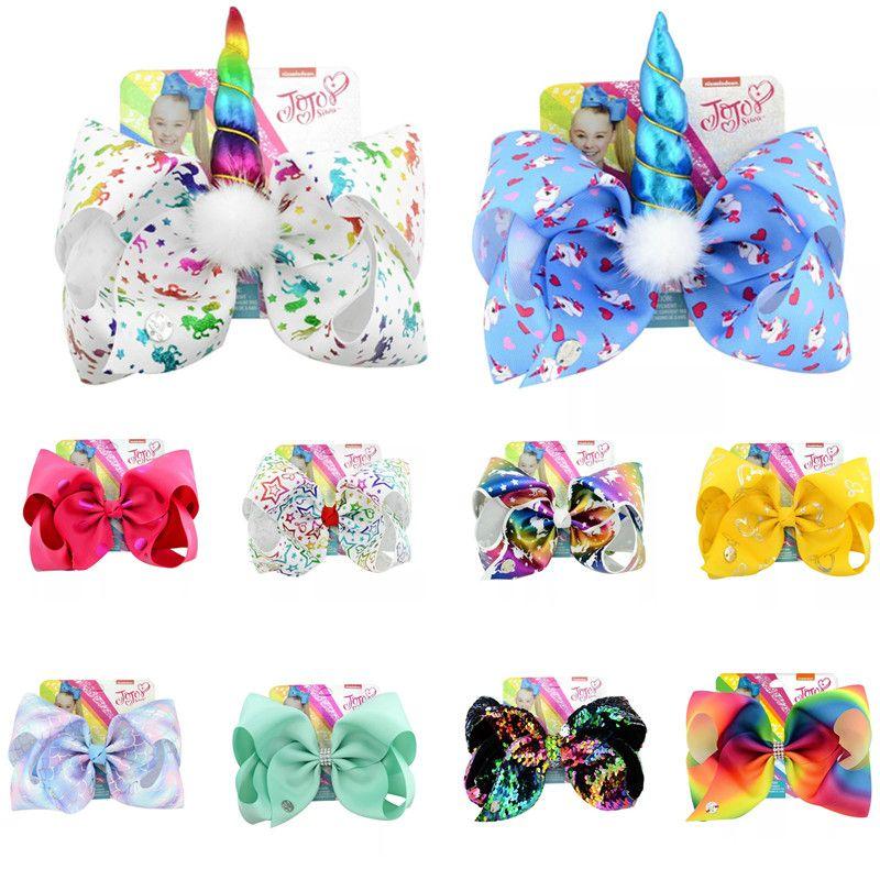 Free DHL 8inches jojo siwa bows baby girls hair bows barrettes Angel Hands Mermaid Unicorn Clippers Kids Hair Clips JOJO SIWA Hair Accessory