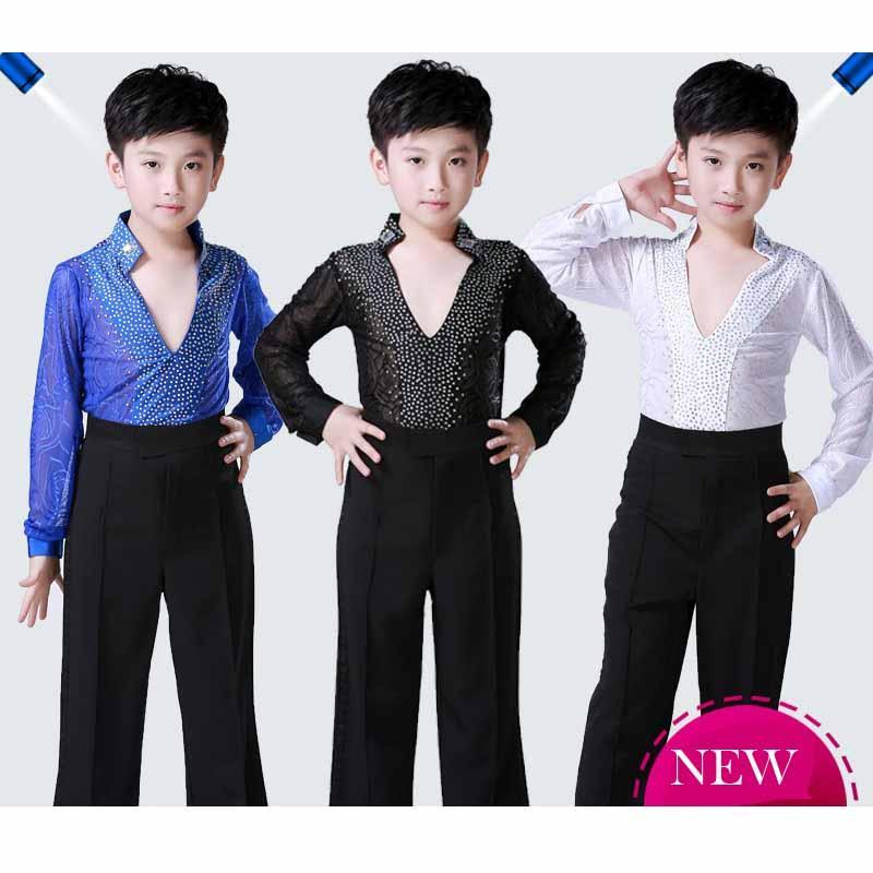 YENİ 1 set (gömlek + pantolon) latin dans kostüm erkek giyim pratik latin erkek çocuklar set dans