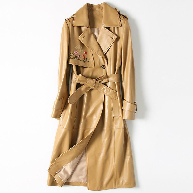 Yüksek Kaliteli Gerçek Koyun Derisi Ceket Kadınlar Uzun Sonbahar Hakiki Deri Ceket Nakış Kruvaze Siper Kadın ile Kemer 274