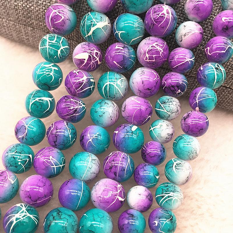 Atacado 4/6/8/10mm Purpleblue Grânulos De Vidro Rodada Solto Spacer Beads Padrão Para Fazer Jóias DIY Pulseira Colar # 03