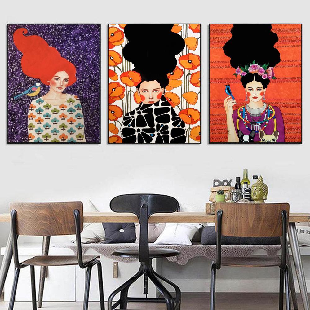 Ragazza capelli astratti Fiore Uccello Arte della parete Pittura su tela Poster e stampe nordici Immagini da parete d'epoca per soggiorno Decor