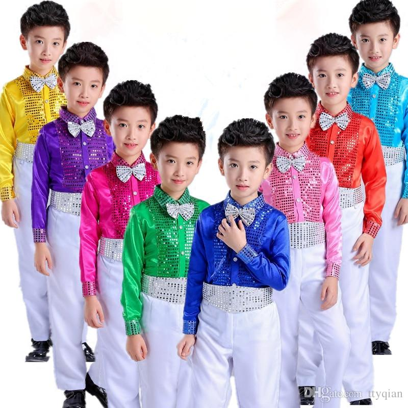 Flowers Boys Children Student Sequins Jazz Stage Dancewear Perform Party Birthday Costumes Gentleman Tracksuit Suit Sets For Boys Clothing