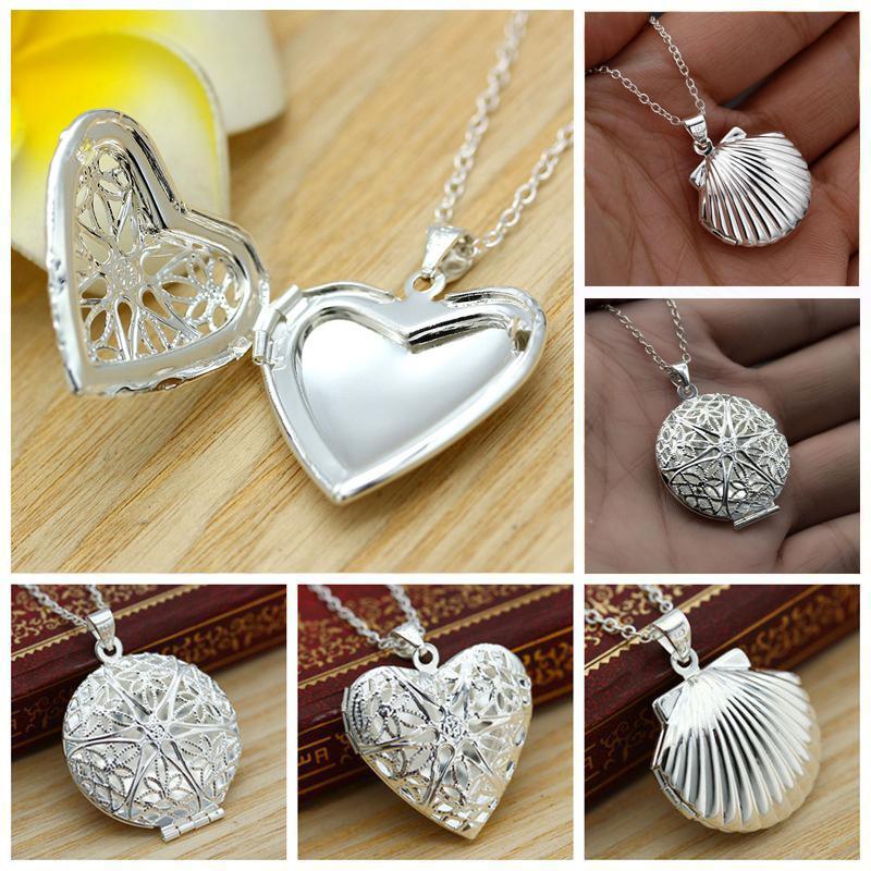 Mulheres Charme Colar medalhão de prata coração pingente banhado Para Water Drop Shell Photo Frame pode dom Valentine Colar Abrir Locket