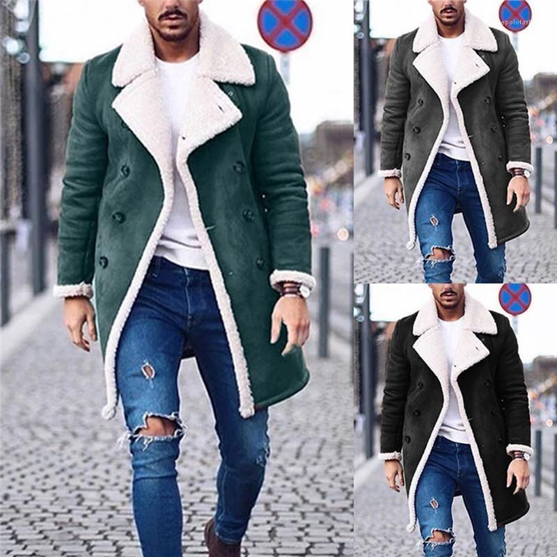 الصوف الدافئة في فصل الشتاء سترة بالاضافة الى حجم قميص رجالي مصمم معاطف طويلة رجالي الصلبة خندق معاطف موضة