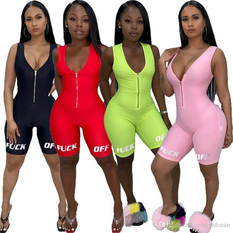 Women Jumpsuits Overalls Summer Clothing Letter New Style V-neck Zipper Rompers Bodycon Shorts Sleeveless S-XL DHL