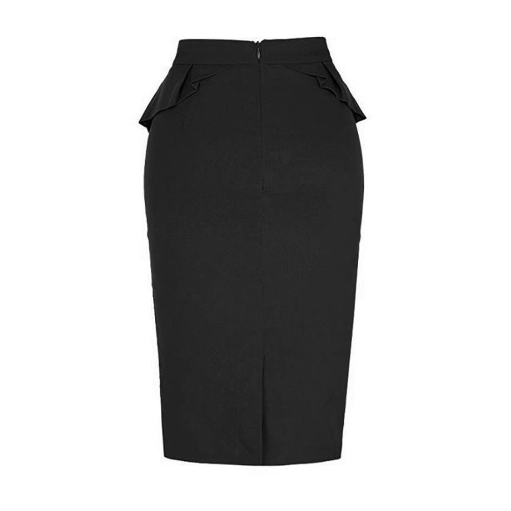 Kadınlar Ofisi Etekler Yüksek Bel fırfır BODYCON Bandaj Etek İş Stil Bayanlar Paketi Kalça Kalem Etek Çalışma Siyah Etekler