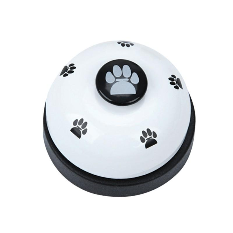 Dog Training atendimento Bell aço inoxidável em forma de esfera patas Impresso Meal Alimentação ferramentas educacionais de treinamento do filhote de cachorro