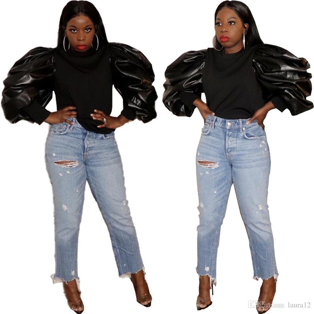블랙 PU 패치 워크 셔링 푹신한 긴팔 티셔츠 여성 T 셔츠 패션 슬림 바디 O 목 여자는 캐주얼 파티 티 고품질 탑