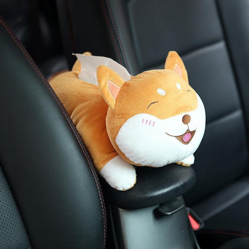 Coche universal Apoyabrazos Caja de la caja del tejido Keji historieta creativa linda del tejido del interior del coche los productos Accesorios