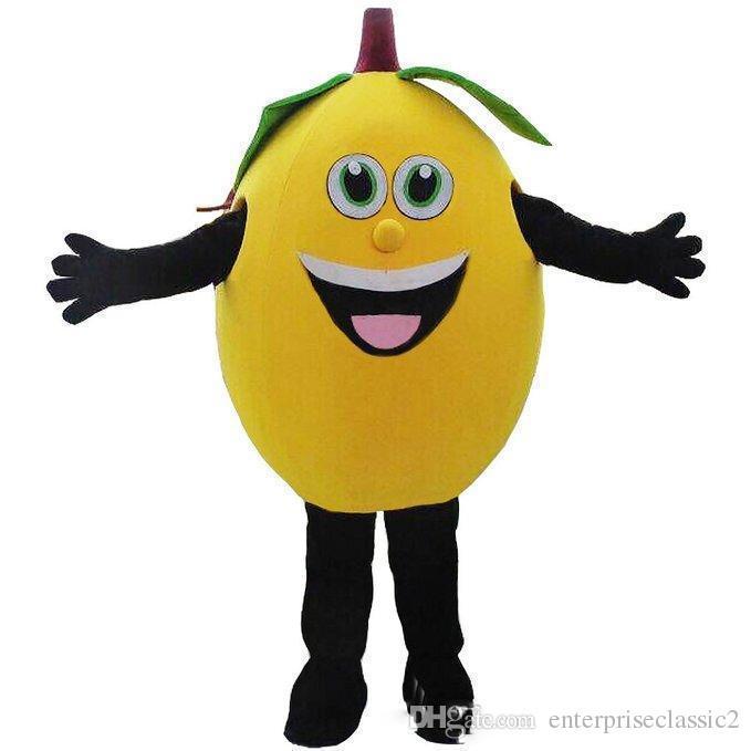 2019 Indirim fabrika satış sarı limon maskot kostümleri meyve maskot kostümleri Cadılar Bayramı Kostümleri Chirstmas Parti Yetişkin Boyutu Fantezi Elbise