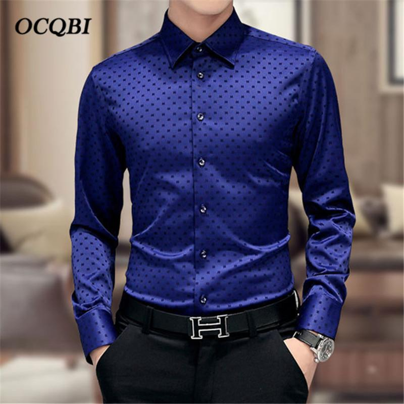 Mens Long Sleeve Satin Plus Dress Shirt Business Formal Casual Smart Top Blouses
