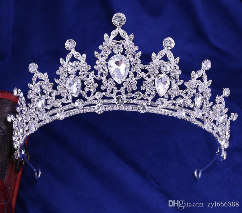 Korean Bride's Crown Alloy Diamond String Crystal Bead Bride's Handmade Crown Accessory Hair Hoop