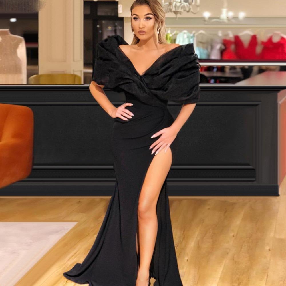 Negro atractivo del hombro de la sirena Vestidos de baile de organza de lado alto de Split piso de longitud vestido de noche vestido de partido del desfile formal