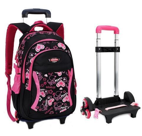 Viagem rolamento bagagem saco de escola Trolley Backpack meninas do miúdo mochila nas rodas do trole da escola da menina de rodas Mochilas Criança Y200106