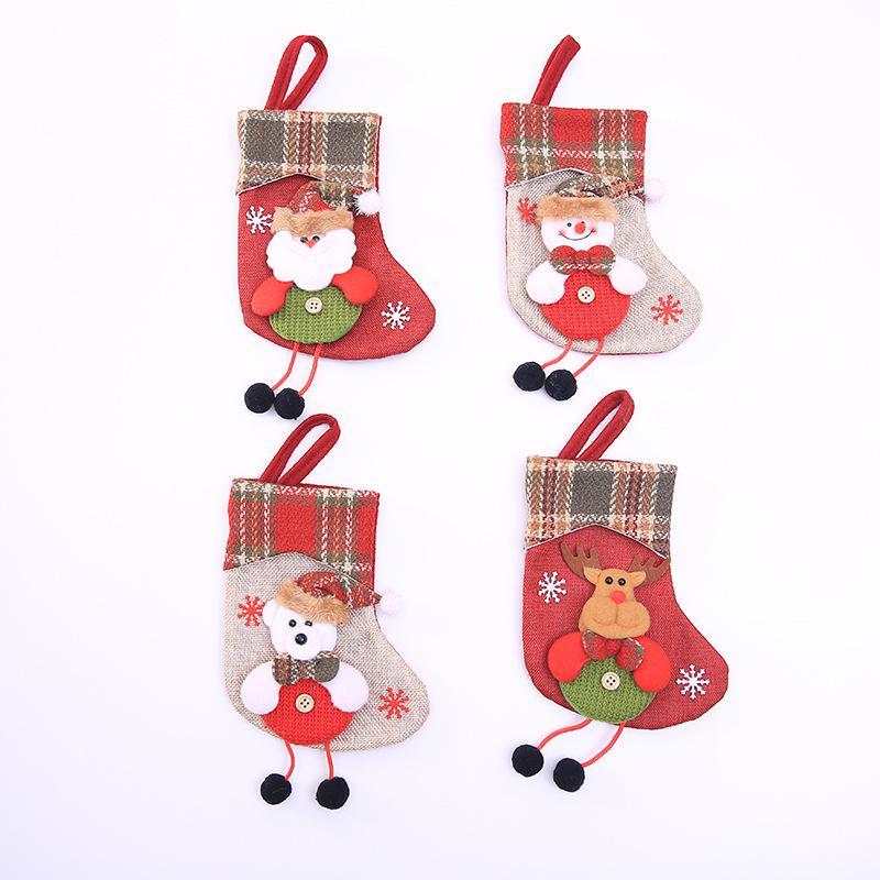Weihnachtsschmuck Weihnachten Socken hängende Geschenk-Taschen Weihnachtsbaumdekoration Candy Bag Socken des neuen Jahres hängen heiß