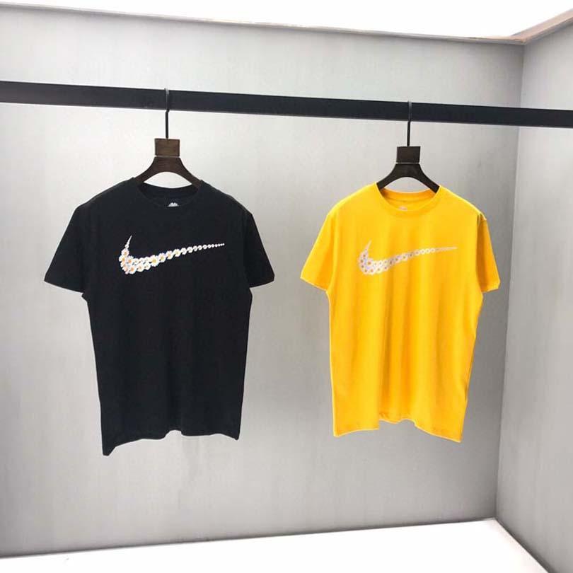 Tops Shirt 2018 Round Collar 100% Cotton Mens T-shirts Yellow Cartoon Print Casual Tops ' Unisex EU size