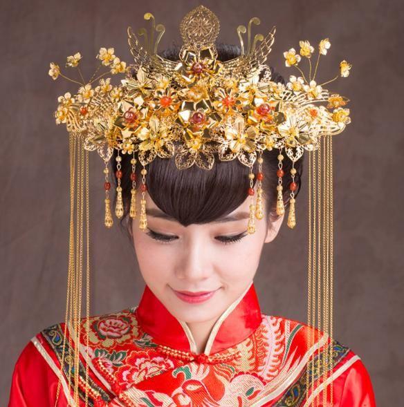 High-End-Kostüm Braut Kopfschmuck Retro chinesischen Phoenix-Kronen-Haar-Zubehör Hochzeit Zubehör Kopf Blumen-A-17