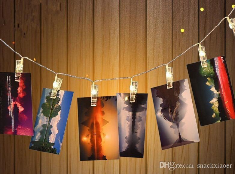5.2m 40 LED Foto Clipes de Cordas Luz alimentado por bateria de LED Clips Luzes Quente branco / RGB luz de Natal para pendurar quadros Notas arte