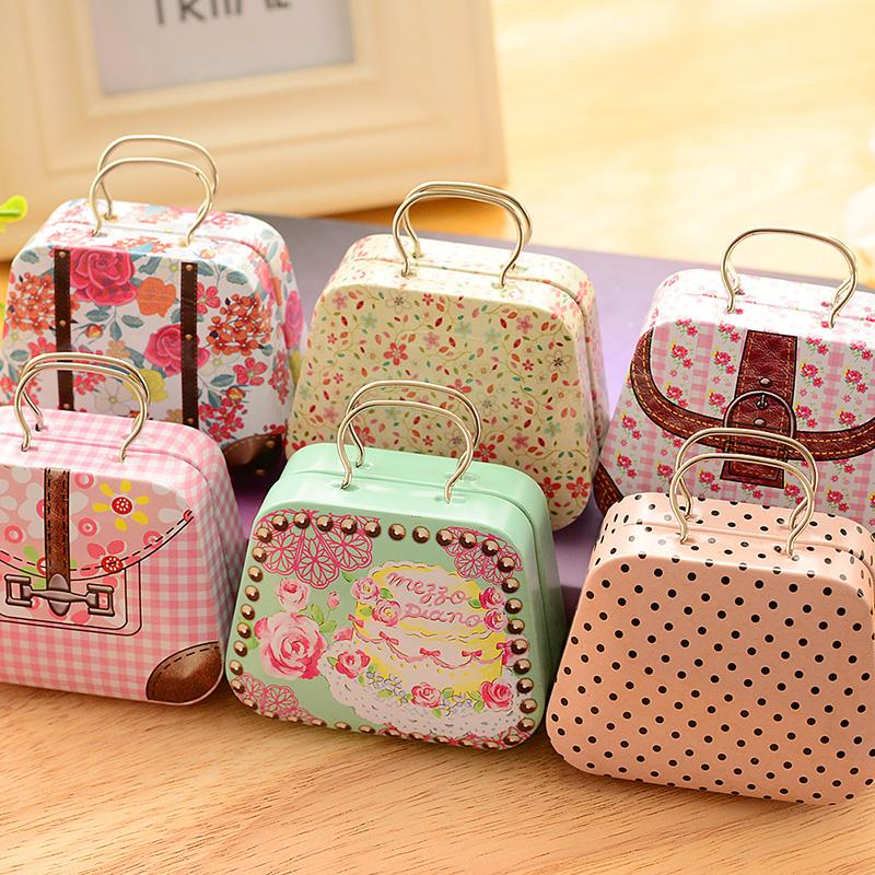 Home & Garden Europe Type Flower Vintage Suitcase Shape Candy Storage Box Wedding Favor Tin Box Cable Organizer Container Household