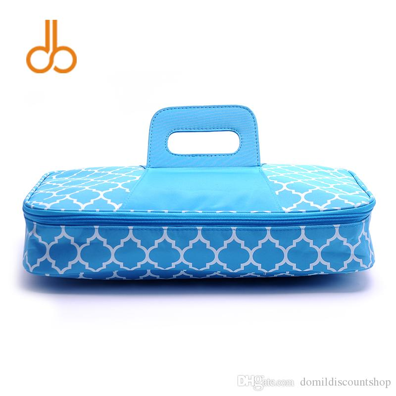 Free Shipping Wholesale big size Square Quatrefoil Insulated Food Carrier Beach lunch Bag Casserole Carrier DOM103075