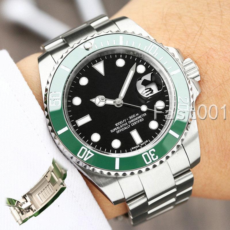 Slide Lock Luxury Green Ceramic Bezel New Men Mechanical SS 2813 Automatic Movement Watch Designer Sports Fashion men Watches Wistwatches